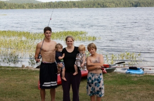 Four of the six kids with Amaris at lake house in Maine