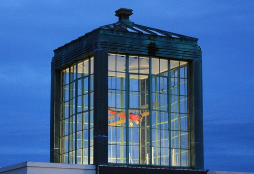 This display at the Aviation Museum of New Hampshire looks perfect against the late afternoon sky.