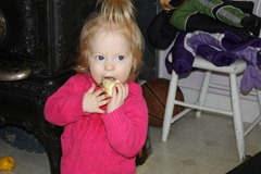 Jacqueline loves apples. She blindly takes bites of the apple and will eat them from every conceivable angle.