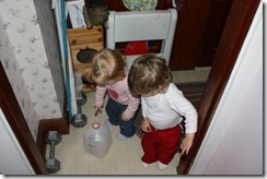 An empty apple cider jug is very intriguing to the twins. Who needs toys?