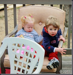 The twins got some time outside today. Dressed in their Red Sox shirts, they're ready for opening day.