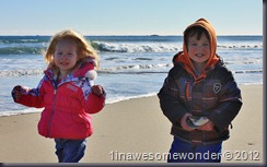 Jacqueline and Theodore walk in the sand at Hampton Beach. The wind was blowing at 10-15 MPH with a wind chill at freezing, but they had a blast chasing gulls and shells.