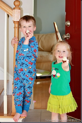 The twins show me their flashlights. Toy cupcakes that they have imagined to be flashlights.