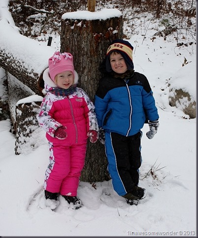 The twins quickly pose for a picture. This was harder than you think. They wanted to keep moving. Two things on their minds, tracking squirrels and making snow angels.