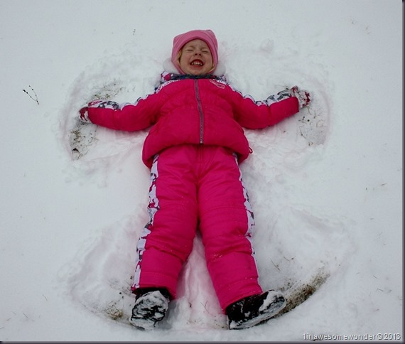 """Separately, Jacqueline didn't open her eyes. She told me, """"Snow is falling in my eyes. I can't open them."""" Fair enough. She still made her snow angel."""