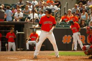 Riley Palmer getting ready to hit for the IronBirds. (photo courtesy of Riley Palmer and the IronBirds)