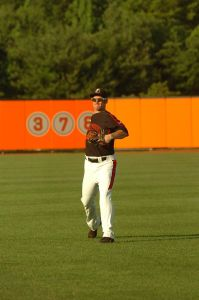 Riley Palmer showing proper throwing mechanics with the IronBirds. (photo courtesy of Riley Palmer and the IronBirds)