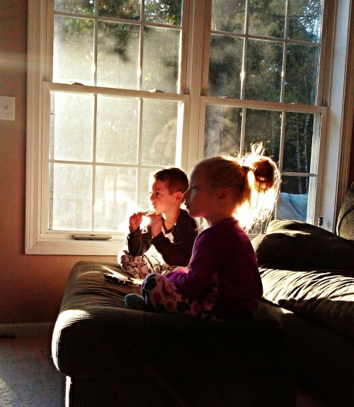 The twins on a quiet fall morning. The sun was rising and the shadows were long. My oh my, they're beautiful children. I'm a blessed man on another blessed morning.
