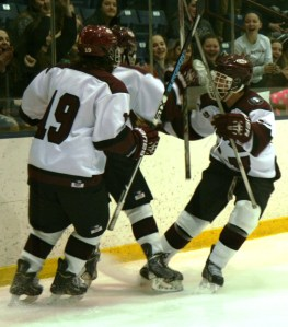 He SCORES!!!! Lajeunesse goal is celebrated by with his linemates. (c) 1inawesomewonder. (Photo by Charron)
